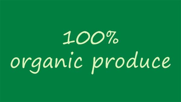 !00% organic produce banner on green