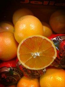 Blood Oranges closeup, cut in half