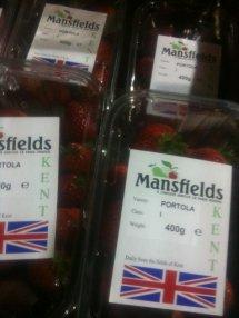british strawberries in plastic punnet with union jack sticker