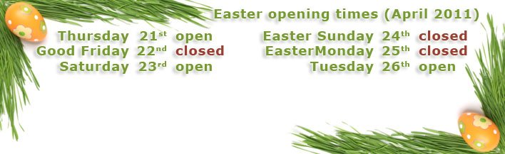 Easter 2011 opening times - banner