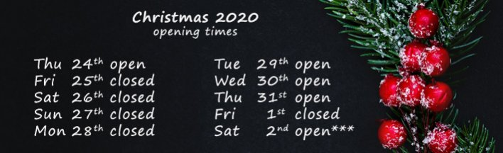 Christmas 2020 - opening times - banner