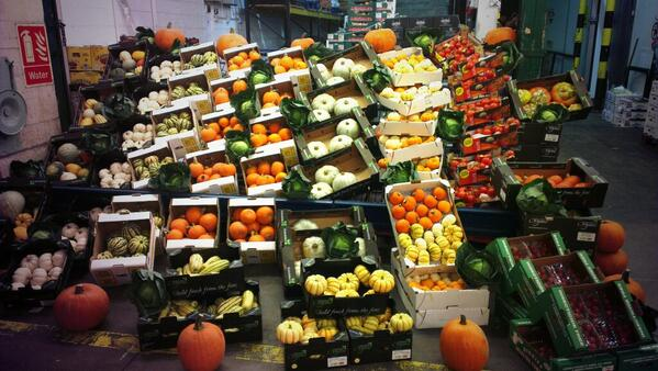 display of pumpkins and squashes at new covent garden market in London