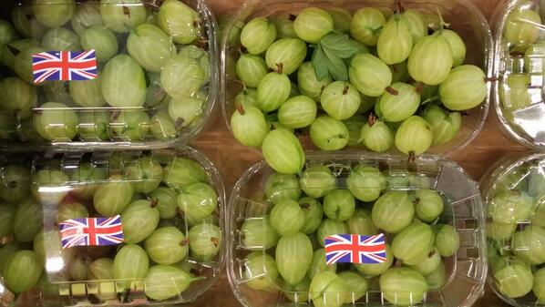 british gooseberries in punnets with union jack stickers