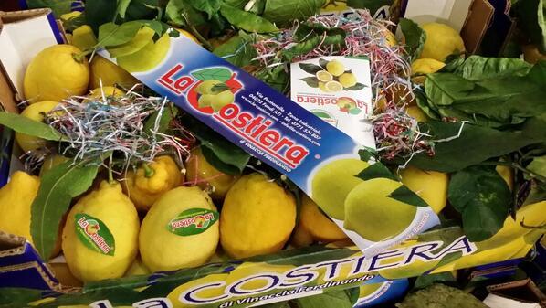 box with unwaxed leafy sicilian, italian lemons