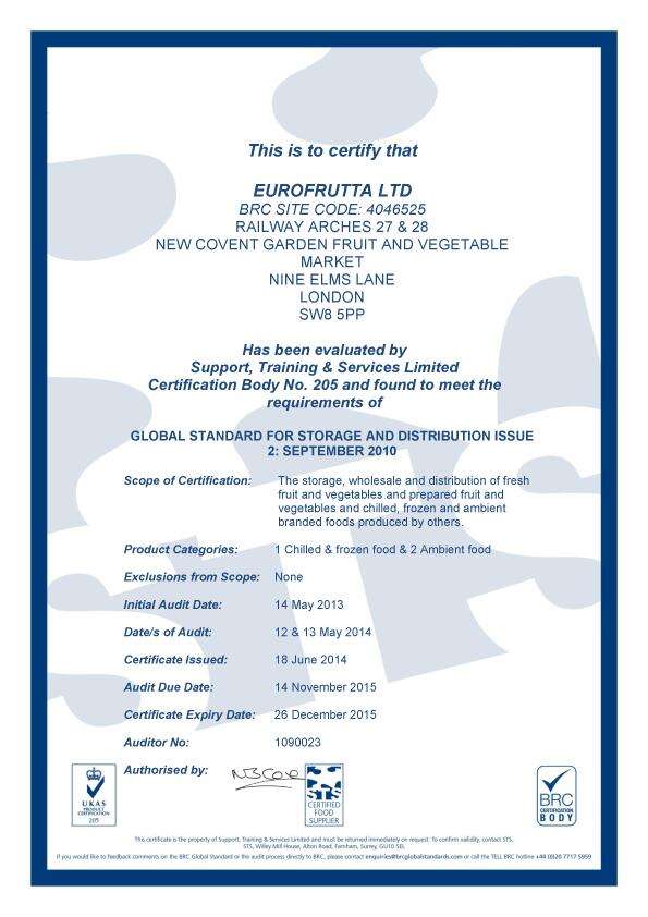 BRC certificate for storage and food distribution for Eurofrutta