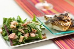 Dandelion Salad, with shallots and bacon. Grilled Mackerel.