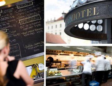 collage of photos - café, restaurant, hotel