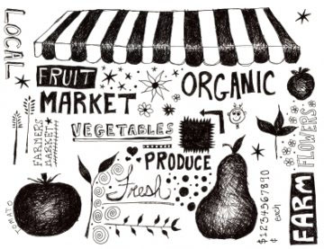 graphic image of fruit and vegetables market philosophy